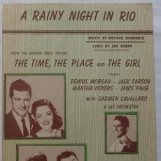Cine: THE TIME, THE PLACE & THE GIRL PARTITURA '46 DENNIS MORGAN & JACK CARSON, A RAINY NIGHT IN RIO!. Lote 136806210