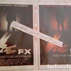 Cine: CARTEL PROMOCION PELICULA DE VIDEO - FX EFECTOS MORTALES - TAMAÑO FOLIO -. Lote 137911454