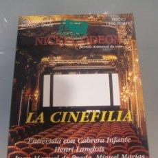 Cine: NICKEL ODEON. REVISTA TRIMESTRAL DE CINE. Nº 11 VERANO 1998 / LA CINEFILIA. Lote 139152310