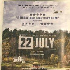 Cine: '22 DE JULIO', DE PAUL GREENGRASS. CARTEL ORIGINAL EN INGLÉS. REPRODUCCIÓN, PÁGINA DE REVISTA.. Lote 139398954