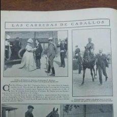 Cine: CARRERAS DE CABALLOS HIPODROMO MADRID ALFONSO XIII TIRO AL PICHON CAMPEONATOS ESPAÑA REVISTA 1908. Lote 140009610
