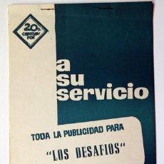 Cine: CINE PUBLICIDAD PELÍCULA LOS DESAFÍOS 1969 16 PAG. FICHA TÉCNICA Y ARTÍSTICA SINOPSIS GACETILLA. Lote 141554434