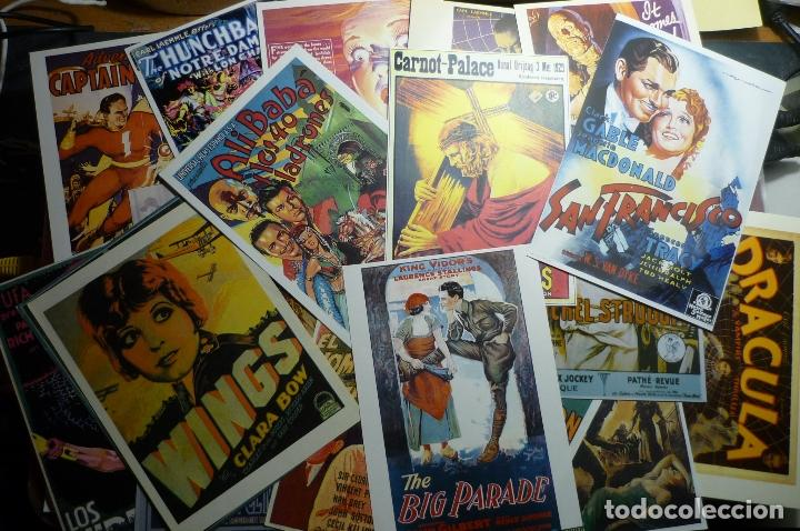 LOTE REPRODUCC.CARTELES ESPAÑOLES Y EXTRANJEROS EN POSTAL,PAPEL, FOTO PELICULAS ANTIGUAS.- (Cine - Reproducciones de carteles, folletos...)