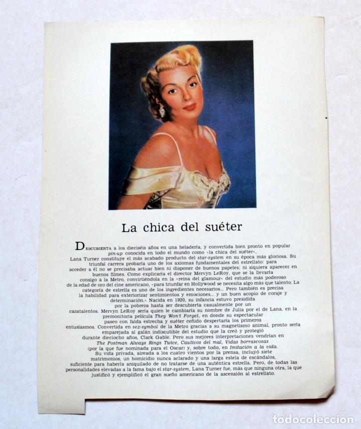 Cine: LAMINA DE REVISTA AÑOS 80: LANA TURNER - Foto 2 - 146446574