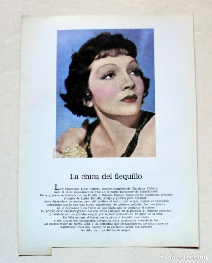 Cine: LAMINA DE REVISTA AÑOS 80: CLUDETTE COLBERT - Foto 2 - 146764938