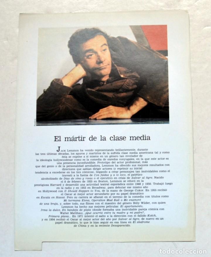 Cine: LAMINA DE REVISTA AÑOS 80: JACK LEMMON - Foto 2 - 146765418