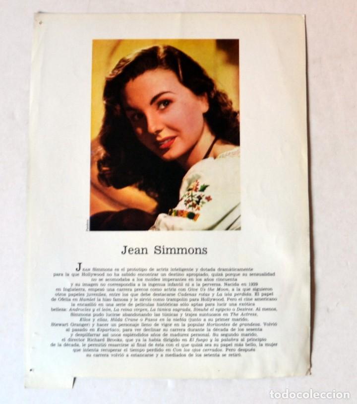 Cine: LAMINA DE REVISTA AÑOS 80: JEAN SIMMONS - Foto 2 - 146766502
