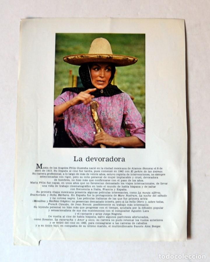 Cine: LAMINA DE REVISTA AÑOS 80: MARÍA FÉLIX - Foto 2 - 146766758