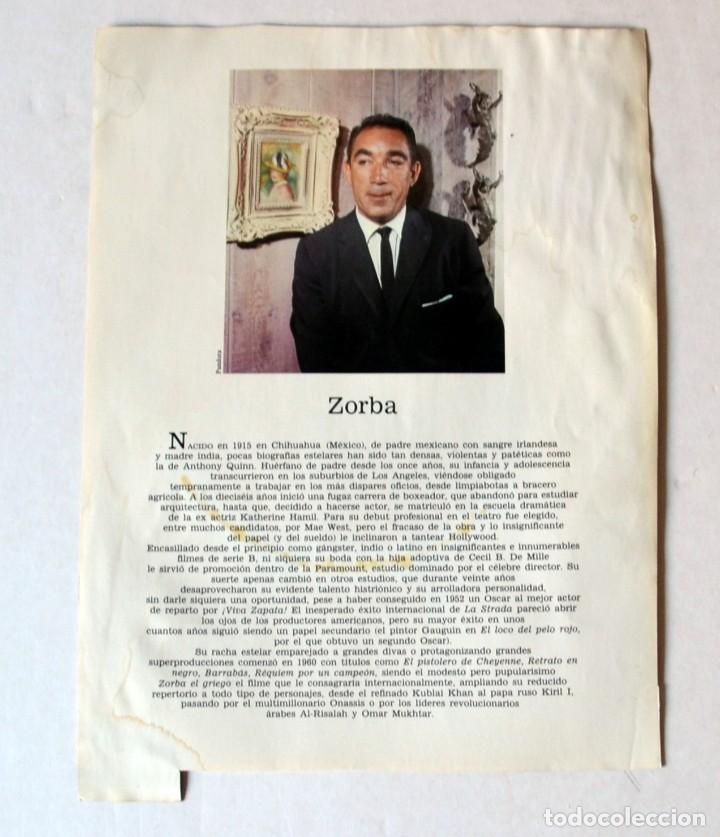 Cine: LAMINA DE REVISTA AÑOS 80: ANTHONY QUINN - Foto 2 - 146779626