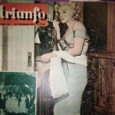 Cine: REVISTA TRIUNFO N° 398 30 DE SEPTIEMBRE DE 1953 PORTADA MARILYN MONROE NIAGARA . Lote 146799002