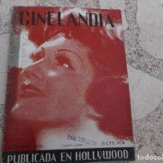 Cine: CINELANDIA TOMO X Nº 10, OCTUBRE 1936, CLAUDETTE COLBERT ,TIENE 2 HOJAS RECORTADAS. Lote 148012370