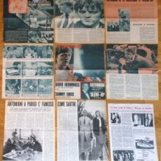 Cine: MICHELANGELO ANTONIONI LOTE PRENSA 1960S CLIPPINGS MAGAZINE ARTICLES BLOW-UP DAVID HEMMINGS. Lote 149323478
