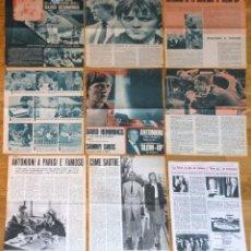 Cine: MICHELANGELO ANTONIONI LOTE PRENSA 1960S CLIPPINGS MAGAZINE ARTICLES BLOW-UP DAVID HEMMINGS. Lote 149323478