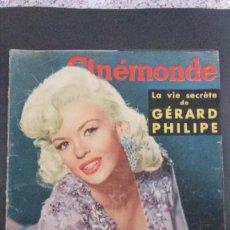 Cine: CINÉMONDE-1957-PORTADA JAYNE MANSFIELD-JACQUELINE FRANÇOIS-GÉRARD PHILIPE-ROMY SCHNEIDER. Lote 195376710