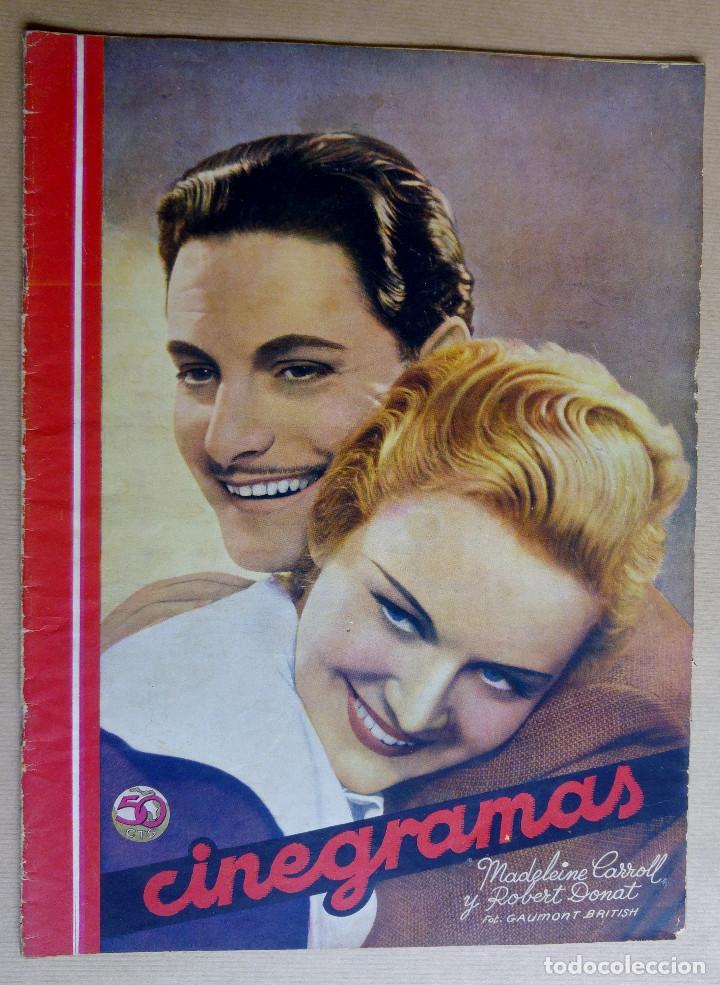 MADELEINE CARROLL Y ROBERT DONAT . REVISTA CINEGRAMAS. AÑO 1936 (Cine - Revistas - Cinegramas)