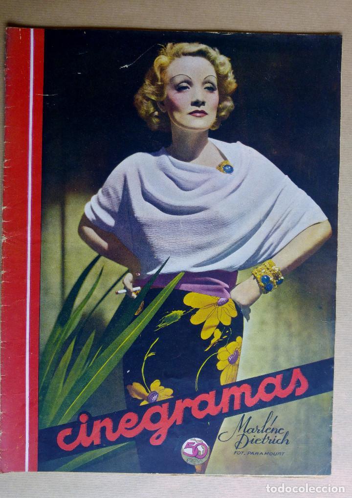 MARLENE DIETRICH. REVISTA CINEGRAMAS. AÑO 1936 (Cine - Revistas - Cinegramas)