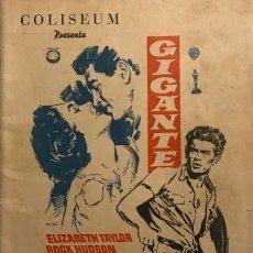 Cine: GIGANTE, CON JAMES DEAN. REVISTA COLISEUM 32 PÁGINAS. 15X21,5 CM. Lote 149279922