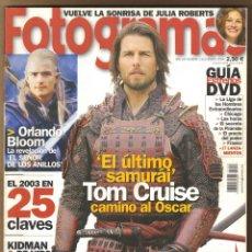 Cine: REVISTA FOTOGRAMAS CRUISE - ORLANDO BLOOM Nº 1923 ENERO 2004. Lote 151650374