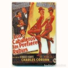 Cine: IMAN PORCELANA NEVERA - CARTEL CINE # LOS CABALLEROS LAS PREFIEREN RUBIAS. Lote 107513322
