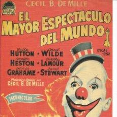 Cine: CARTEL DE CINE TAMAÑO 30X23 APROX INFORMACION DETRAS DE LA PELICULA EL MAYOR ESPECTACULO DEL MUNDO. Lote 154181454