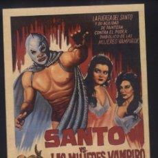 Cine: P-7861- SANTO VS. LAS MUJERES VAMPIRO (COPIA CARTEL EN FORMATO FOLLETO MANO) SANTO - OFELIA MOTESCO. Lote 154843222