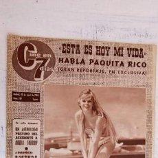 Cine: CINE EN SIETE DÍAS Nº 209 - 1965 - PAQUITAQ RICO, MARIE LAFORET, BRIGITTE BARDOT, LIZ TAYLOR, . Lote 156306226