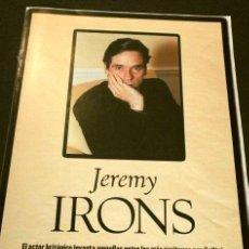 Cine: JEREMY IRONS (ALBUM Y POSTER EL DOMINICAL AÑOS 90) (4 HOJAS SUELTAS) FICHA. Lote 160753846