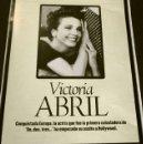 Cine: VICTORIA ABRIL (ALBUM Y POSTER EL DOMINICAL AÑOS 90) (4 HOJAS SUELTAS) FICHA. Lote 160754502