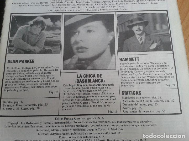 Cine: Papeles de Cine -- nº 22 -- Octubre 1981 - Casablanca, Alan Parker, Win Wenders, Hammett, Bertolucci - Foto 3 - 164811938