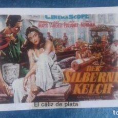 Cine: CARTEL REPRODUCIDO CARTULINA FORMATO FOLLETO. EL CÁLIZ DE PLATA. VIRGINIA MAYO. JACK PALANCE. . Lote 165858890