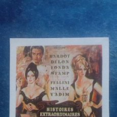 Cine: CARTEL REPRODUCIDO CARTULINA FORMATO FOLLETO. HISTORIAS EXTRAORDINARIAS. BRIGITTE BARDOT. Lote 165882066