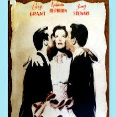 Cine: CARTEL DE GARY GRANT, KATHARINE HEPBURN Y JAMES STEWART PEGADO SOBRE MADERA. 42 X 20 CM.. Lote 166189718