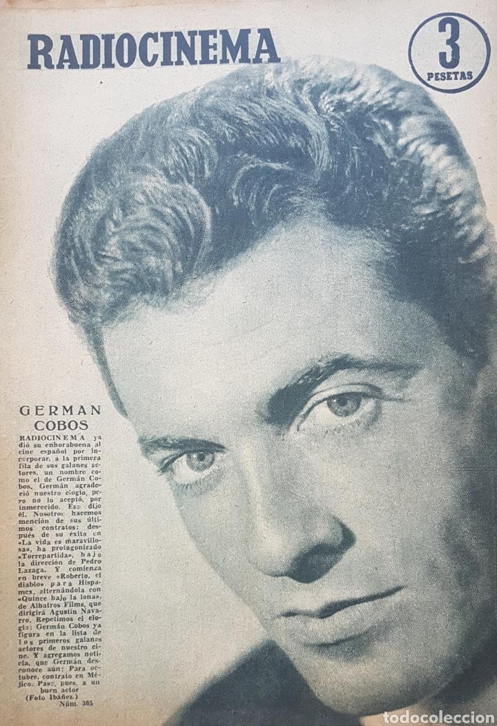 GERMÁN COBOS REVISTA RADIOCINEMA N. 305 AÑO 1956 (Cine - Revistas - Radiocinema)