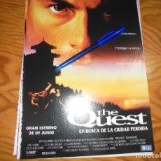 Cine: RECORTE : PUBLICIDAD PELICULA : THE QUEST. JEAN-CLAUDE VAN DAMME. CINERAMA,JULIO 1996. Lote 167599200