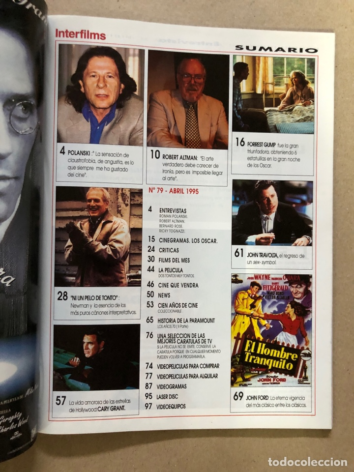 Cine: INTERFILMS N° 79 (ABRIL, 1995). PAUL NEWMAN, ROMAN POLANSKI, JOHN FORD, ROBERT ALTMAN,... - Foto 2 - 169446965