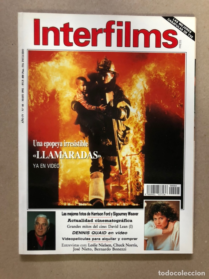 INTERFILMS N° 44 (MAYO, 1992). HARRISON FORD, DAVID LEAN, CHUCK NORRIS, JOSÉ NIETO,... (Cine - Revistas - Interfilms)
