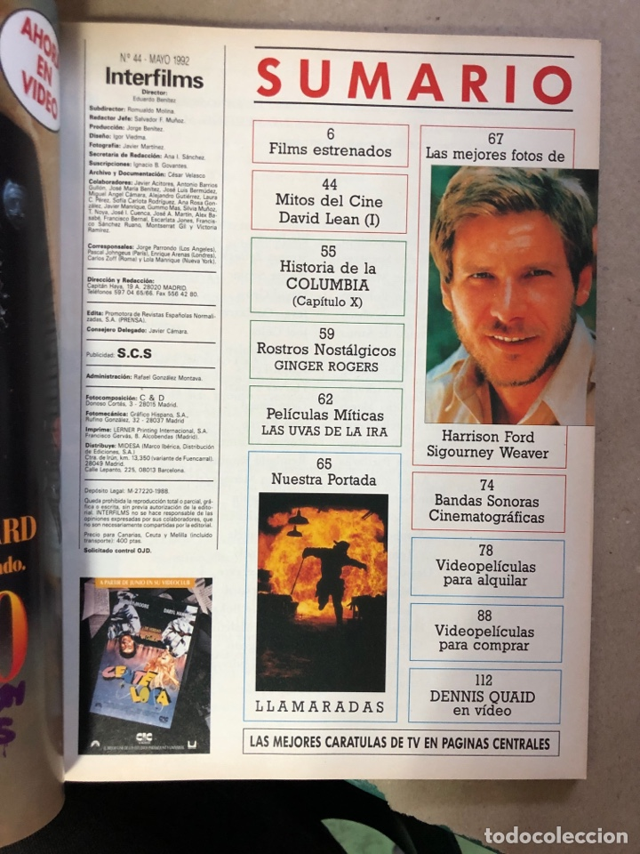 Cine: INTERFILMS N° 44 (MAYO, 1992). HARRISON FORD, DAVID LEAN, CHUCK NORRIS, JOSÉ NIETO,... - Foto 2 - 169449838