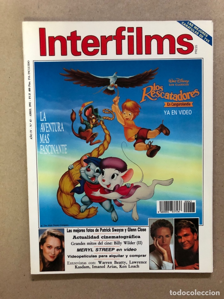 INTERFILMS N° 43 (ABRIL, 1992). PATRICK SWAYZE, GLENN CLOSE, MERYL STREEP, BILLY WILDER (Cine - Revistas - Interfilms)