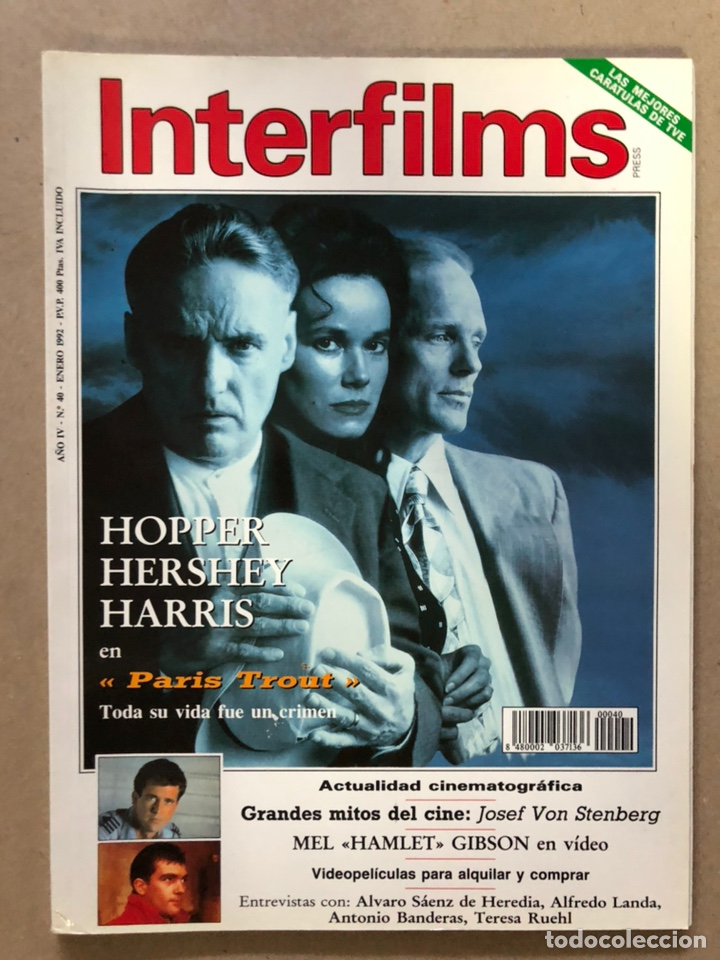 INTERFILMS N° 40 (ENERO, 1992). ALFREDO LANDA, ANTONIO BANDERAS, DENNIS HOOPER,... (Cine - Revistas - Interfilms)