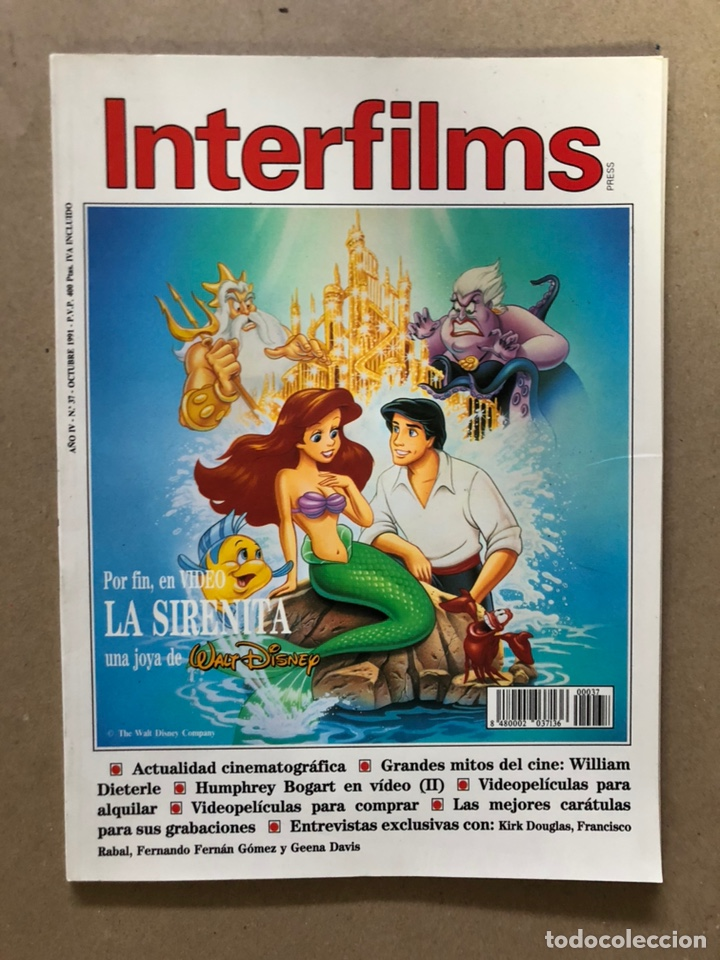 INTERFILMS N° 37 (OCTUBRE, 1991). LA SIRENITA, WILLIAM DIETERLE, KIRK DOUGLAS, FERNANDO FERNÁN (Cine - Revistas - Interfilms)