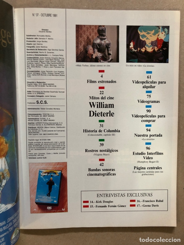 Cine: INTERFILMS N° 37 (OCTUBRE, 1991). LA SIRENITA, WILLIAM DIETERLE, KIRK DOUGLAS, FERNANDO FERNÁN - Foto 2 - 169451845