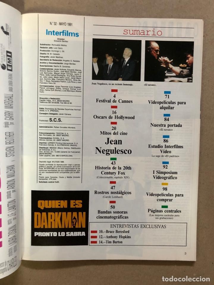 Cine: INTERFILMS N° 32 (MAYO, 1991). EL PADRINO I y II, ESPECIAL CANNES, TIM BURTON,... - Foto 2 - 169453022
