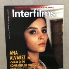 Cine: INTERFILMS N° 28 (ENERO, 1991). ANA ÁLVAREZ, CANTINFLAS, RODOLFO VALENTINO, LÓPEZ VÁZQUEZ. Lote 169453768
