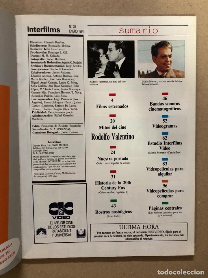 Cine: INTERFILMS N° 28 (ENERO, 1991). ANA ÁLVAREZ, CANTINFLAS, RODOLFO VALENTINO, LÓPEZ VÁZQUEZ - Foto 2 - 169453768