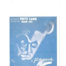 Cine: DR.MABUSE.PROGRAMA DE MANO MODERNO -FRITZ LANG. Lote 171824222