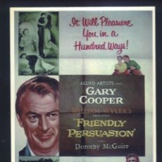 Cinema: P-8225- FRIENDLY PERSUASION (LA GRAN PRUEBA) GARY COOPER - DOROTHY MCGUIRE - ANTHONY PERKINS. Lote 173451378