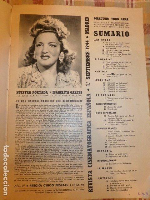 Cine: CAMARA REVISTA QUINCENAR CINEMATOGRAFICA ESPAÑOLA SEPTIEMBRE 1944 ISABELITA GARCES EN PORTADA - Foto 2 - 175860665