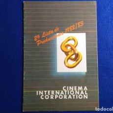 Cine: REVISTA DE CINE. 2ª LISTA DE PRODUCCIONES 1982 / 83. CINEMA INTERNACIONAL CORPORACION.. Lote 176105223