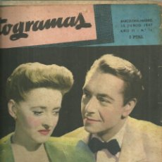 Cine: 3146.- FOTOGRAMAS - AÑO II Nº 15 - 15 DE JUNIO DE 1947 - CINE . Lote 176273972