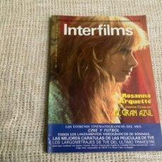 Cinema: INTERFILMS Nº 2 SEPTIEMBRE 1988 ROSANNA ARQUETTE, LAS MEJORES CARATULAS DE LAS PELICULAS DE TVE. Lote 176439339